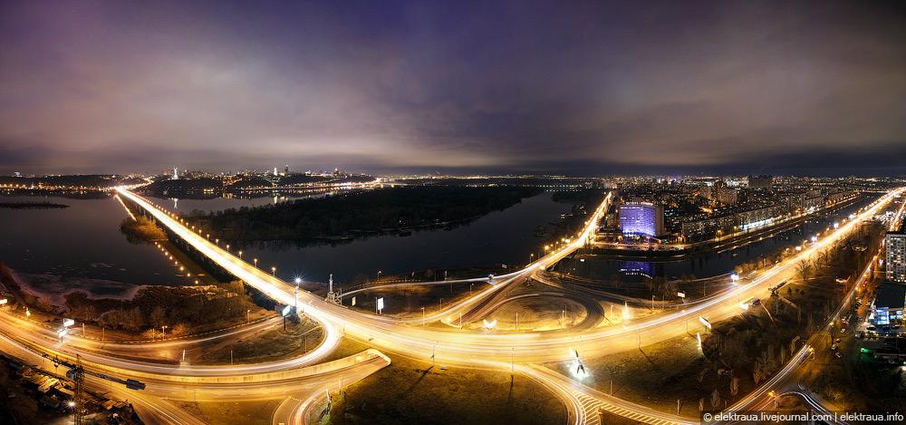 Ночной вид на Днепр и мост Патона